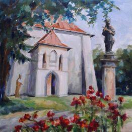 Margita-Rešovská-–-Pred-kostolom-v-Stropkove-akryl-plátno-umenie-na-predaj