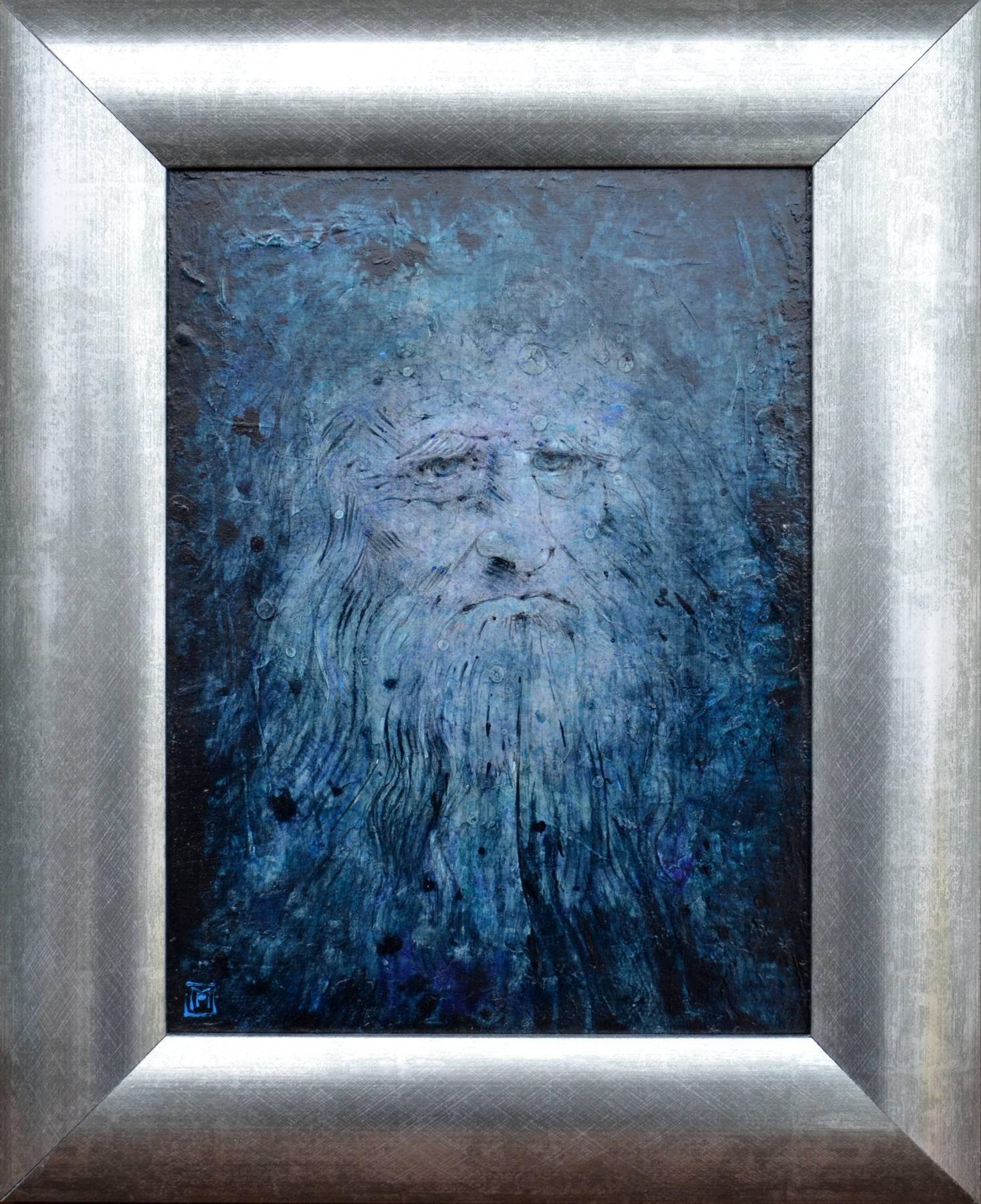Milan Pučan – Leonardo 2., akryl, ceruza na sololite, 30 x 22 cm, 41 x 33 s rámom