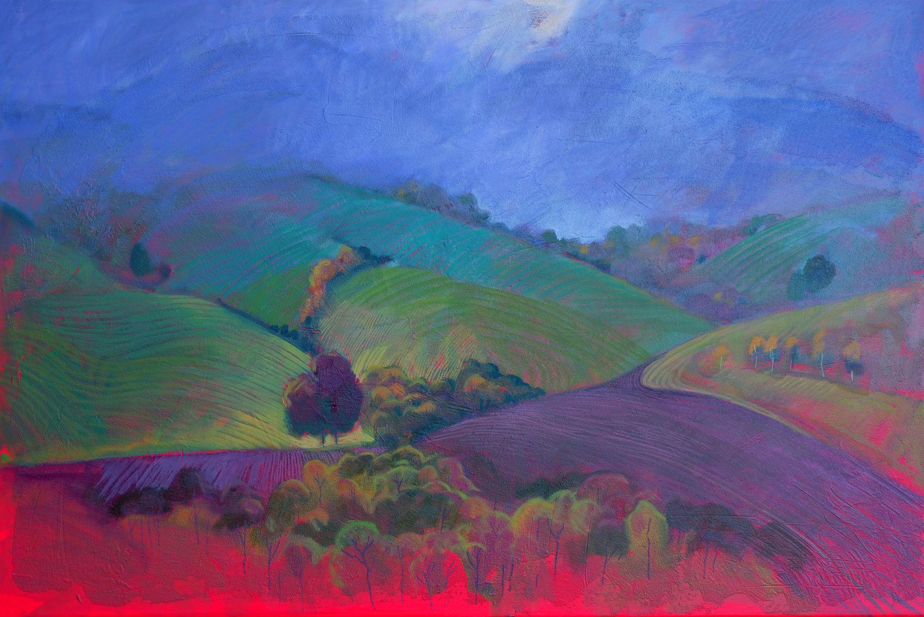 Miroslav Bucher – Portrét zeme – Z hmly, olejomaľba na plátne