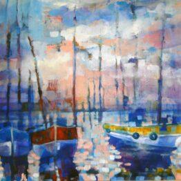 Stano-Barta-–-Malý-prístav-kombinovaná-technika-na-plátne-predaj-obrazov