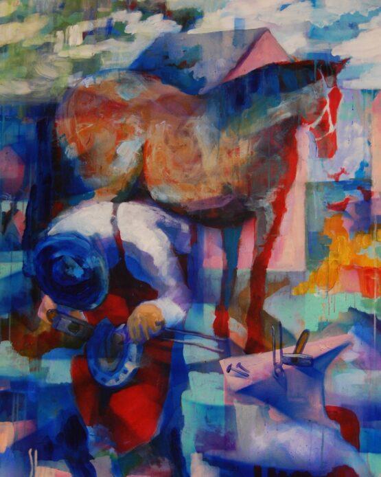 Stano-Barta-Stoj-kombinovaná-technika-na-plátne-predajna-galeria