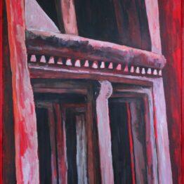 Miriam-Kavuličová-Tomašiaková-Červené-okno-architráv-2-akryl-na-plátne-dielo