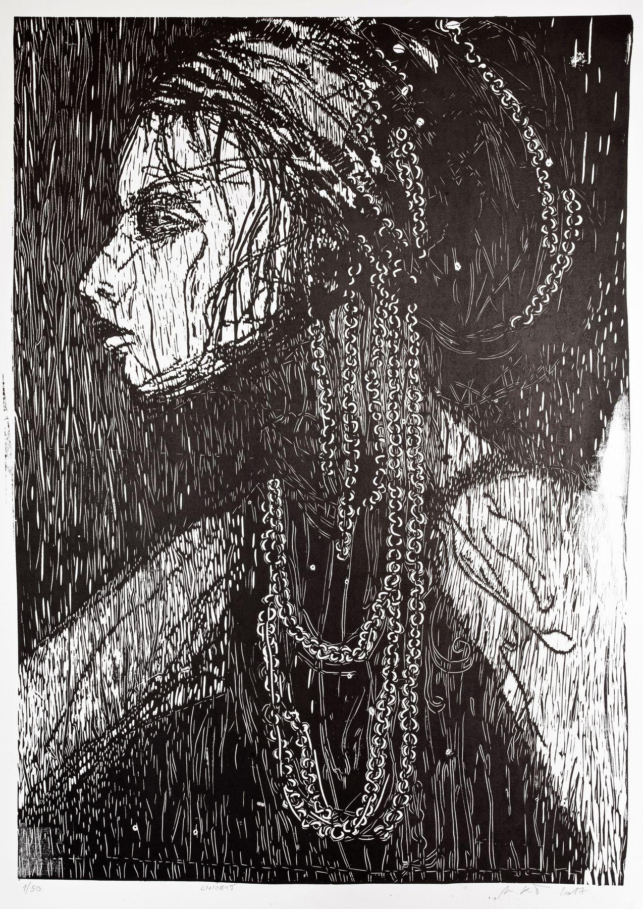 Miriam Kavuličová Tomašiaková – Žena, linoryt, papier, 2017