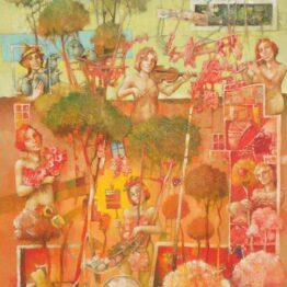 Ján-Koválik-Na-konci-ružovej-záhrady-olejomaľba-na-plátne-predajna-galeria