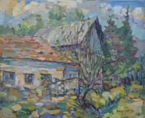 David-Eperjesi-Z-dvora-olejomaľba-plátno-na-doske-slovenska-krajina