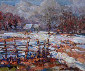 David-Eperjesi-Zima-za-dedinou-2-olejomaľba-plátno-na-sololite-predaj-obrazov