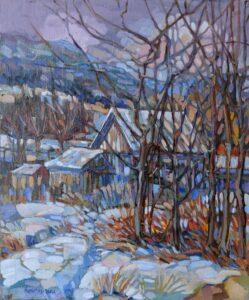 David-Eperjesi-Zima-za-dedinou-olejomaľba-plátno-na-sololite-vytvarne-umenie