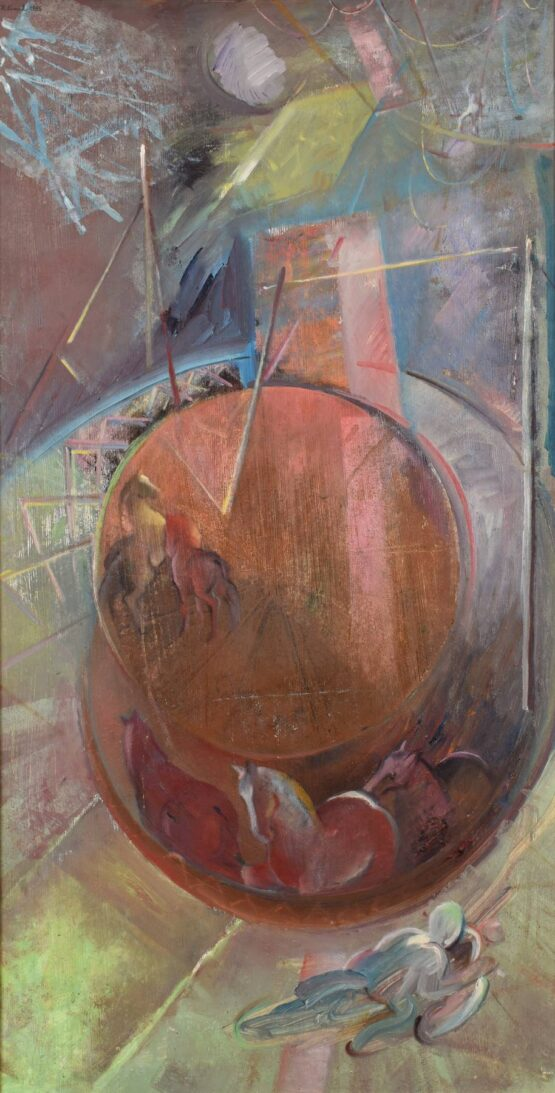 Peter-Klimek-Láska-v-cirkuse-olej-na-doske-slovensky-maliar