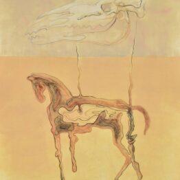 Peter-Klimek-Napršané-kone-2-kombinovaná-technika-lavírovaná-kresba-na-papieri-sucasne-umenie