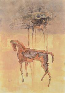 Peter-Klimek-Napršané-kone-3-kombinovaná-technika-lavírovaná-kresba-na-papieri-galeria-umenia