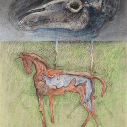 Peter-Klimek-Napršané-kone-4-kombinovaná-technika-lavírovaná-kresba-na-papieri-predaj-obrazov
