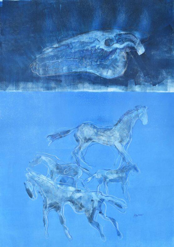 Peter-Klimek-Napršané-kone-6-kombinovaná-technika-lavírovaná-kresba-na-papieri-vytvarne-umenie