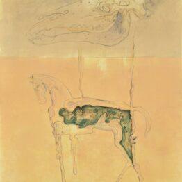 Peter-Klimek-Napršané-kone-kombinovaná-technika-lavírovaná-kresba-na-papieri-predaj-obrazov