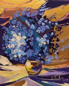 Tomáš-Turzák-Modré-kvety-akryl-na-plátne-a-zlatý-pigment-predaj-obrazov