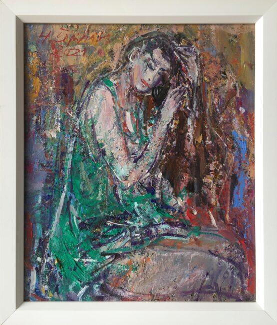 Hubert-Čepiššák-Dievča-olejomaľba-na-sololite-predaj-obrazov