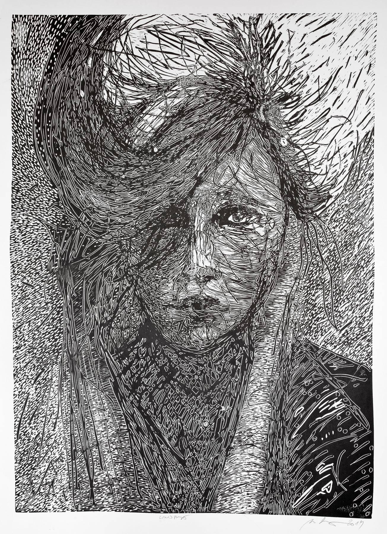 Miriam Kavuličová Tomašiaková – Bez názvu 1, linoryt, papier, 2019