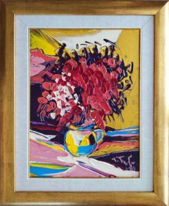 Tomáš-Turzák-Karmínové-kvety-akryl-na-plátne-a-zlatý-pigment-predajna-galeria