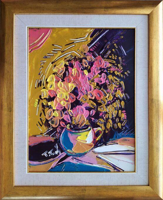 Tomáš-Turzák-Purpurové-kvety-akryl-na-plátne-a-zlatý-pigment-onrazy-na-predaj