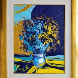 Tomáš-Turzák-Tyrkysové-kvety-akryl-na-plátne-a-zlatý-pigment-sucasne-umenie
