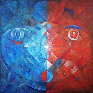 Fero-Kučo-Tvár-v-zrkadle-olej-a-špeciálna-technika-na-plátne-predaj-obrazov