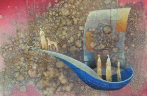Norbert-Judt-Navždy-spolu-kombinovaná-technika-šepsované-plátno-na-lepenke-predaj-obrazov